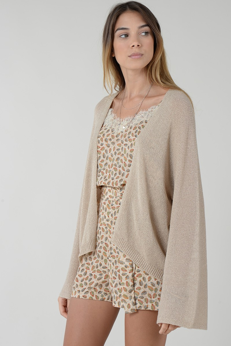 Molly Bracken Cardigan Manga Larga Asimetrico