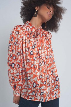 blusa lazada estampado flores orange