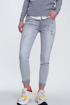 pantalon denim pitillo degradado gris